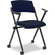 Ergocraft Xilla Nesting Chair with Arms Plastic Back Fabric Seat with Casters Midnight Blue - Pkg Qty 4