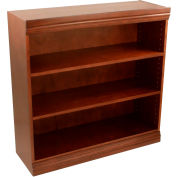 "Traditional Wood Veneer Bookcase, 2 Adjustable Shelves, Walnut Finish, 36""W x 36""H"