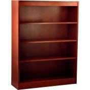 "Wood Veneer Bookcase, 3 Adjustable Shelves, Mahogany Finish, 36""W x 48""H"