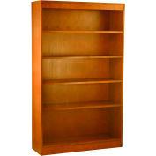 "Wood Veneer Bookcase, 4 Adjustable Shelves, Medium Oak Finish, 36""W x 60""H"