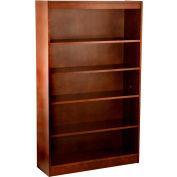 "Wood Veneer Bookcase, 4 Adjustable Shelves, Walnut Finish, 36""W x 60""H"