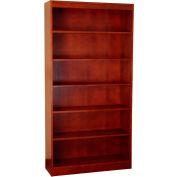 "Wood Veneer Bookcase, 5 Adjustable Shelves, Mahogany Finish, 36""W x 72""H"