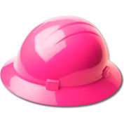 ERB™ 19199 Americana Full Brim Hard Hat, 4-Point Ratchet Suspension, Hi-Viz Pink - Pkg Qty 12