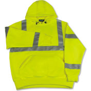 Aware Wear® ANSI Class 3 Hooded, Pull-Over Sweatshirt, 61540 - Lime, Size M