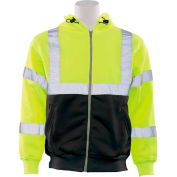 ERB™ 62986, W378 Aware Wear Hi-Vis Zipper Sweatshirt , Class 3, Hi-Vis Lime/Black, L