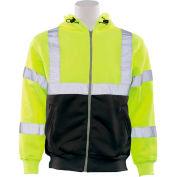 ERB™ 62990, W378 Aware Wear Hi-Vis Zipper Sweatshirt , Class 3, Hi-Vis Lime/Black, 4XL