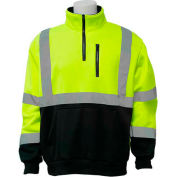 ERB™ 63870, W379 Aware Wear Hi-Vis 1/4 Zipper Sweatshirt , Class 3, Hi-Vis Lime/Black, M