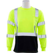 ERB™ 64035, 9804S Aware Wear Hi-Vis Long Sleeve T-Shirt, Class 3, Hi-Vis Lime/Black, L