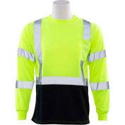 ERB™ 64037, 9804S Aware Wear Hi-Vis Long Sleeve T-Shirt, Class 3, Hi-Vis Lime/Black, 2XL