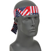 Ergodyne® Chill-Its® 6700 Evaporative Cooling Bandana - Tie, Stars/Stripes, One Size
