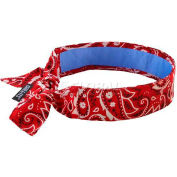 Ergodyne Chill-Its® Evap. Cooling Bandana w/ Built-In Cooling Towel, Tie, Red Western, 12563