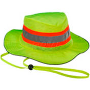 Ergodyne Chill-Its® Evap. Class Headwear Hi-Vis Ranger Hat w/Built-In Cooling Towel, Lime, L/XL