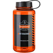 Ergodyne Chill-Its® Plastic Wide Mouth Water Bottle, 1 Liter, Orange, 13151