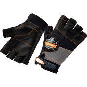 Ergodyne® ProFlex® 901 Half-Finger Leather Impact Gloves, Black/Gray, Small