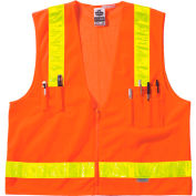 Ergodyne® GloWear® 8250ZHG Class 2 Hi-Gloss Surveyors Vest, Orange, L/XL