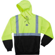 Ergodyne® GloWear® 8293 Class 2 Hooded Sweatshirt W/Black Front, Lime/Black, L
