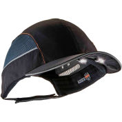 Ergodyne® Skullerz® 8960 Bump Cap W/LED Lighting Technology, Black, Long Brim, One Size