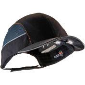 Ergodyne® Skullerz® 8960 Bump Cap W/LED Lighting Technology, Black, Long Brim, One Size