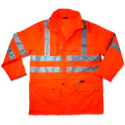 Ergodyne® GloWear® 8365 Class 3 Rain Jacket, Orange, 3XL