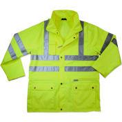 Ergodyne® GloWear® 8365 Class 3 Rain Jacket, Lime, S