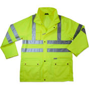 Ergodyne® GloWear® 8365 Class 3 Rain Jacket, Lime, 3XL