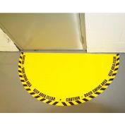 """DuraStripe® Full 180° Door Swing Sign, Black on Yellow, 34"""" x 68"""""""