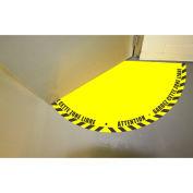 """DuraStripe® Half 90° Door Swing Sign, Black on Yellow, 28"""" x 28"""""""