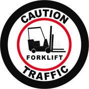 """Durastripe 12"""" Round Sign - Caution Forklift Traffic"""