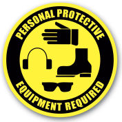 """Durastripe 16"""" Round Sign - Personal Protective Equipment Required"""