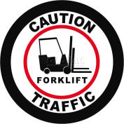 """Durastripe 16"""" Round Sign - Caution Forklift Traffic"""