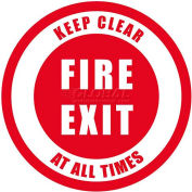 """Durastripe 16"""" Round Sign - Fire Exit Keep Clear At All Times"""