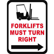 """Durastripe 30""""X21"""" Rectangle - Forklifts Must Turn Right"""