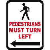 "Durastripe 30""X21"" Rectangle - Pedestrians Must Turn Left"