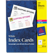 """Avery® UnRule Index Cards for Laser and Inkjet Printers 5388, 3"""" x 5"""", White, 50/Box"""