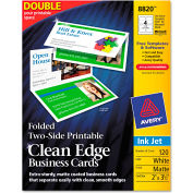 "Avery® Folded Two-Sided Clean Edge Business Cards 8820, 2"" x 3-1/2"", Matte, 120/Box"