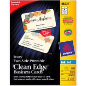 "Avery® Rounded Two-Sided Clean Edge Business Cards 88221, 2"" x 3-1/2"", Ivory, 160/Pack"