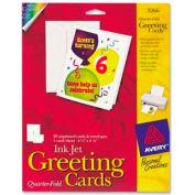 "Avery® Quarter-Fold Greeting Card, 4-1/4"" x 5-1/2"", Matte, White, 20 Sheets/Pack"