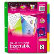 Avery® Plastic Two-Pocket Insertable Dividers, Assorted, 5 Tabs/Set