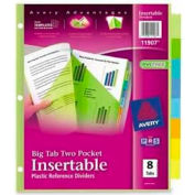 Avery® Plastic Two-Pocket Insertable Dividers, Assorted, 8 Tabs/Set