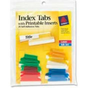 """Avery® Self-Adhesive Index Tabs with Printable Inserts, 1"""" Width, Assorted, 25 Tabs/Pack"""