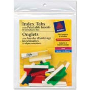 """Avery® Self-Adhesive Index Tabs with Printable Inserts, 1-1/2"""" Width, Assorted, 25 Tabs/Pack"""