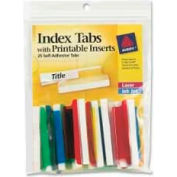 """Avery® Self-Adhesive Index Tabs with Printable Inserts, 2"""" Width, Assorted, 25 Tabs/Pack"""