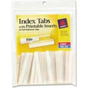 """Avery® Self-Adhesive Index Tabs with Printable Inserts, 2"""" Width, Clear, 25 Tabs/Pack"""