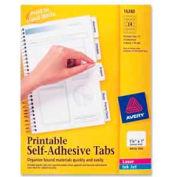 "Avery® Printable Self-Adhesive Tabs, 1-1/4"" Width, White, 96 Tabs/Pack"