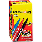 Avery® Marks-A-Lot Pen Style Permanent Marker, Bullet Point, Blue/Red/Black Ink, 24/Pack