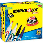 Avery® Marks-A-Lot Desk Style Dry Erase Marker, Chisel/Bullet Tip, Assorted Ink, 24/Pack