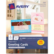 """Avery® Half-Fold Greeting Card, 5-1/2"""" x 8-1/2"""", Matte, White, 20 Cards/Pack"""