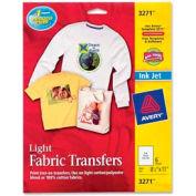 """Avery® Light T-Shirt Transfer, 8-1/2"""" x 11"""", Matte, White, 6 Sheets/Pack"""