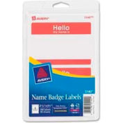 """Avery® """"Hello, my name is"""" Name Badge Labels, 2-11/32"""" x 3-3/8"""", Red, 100 Labels/Pack"""