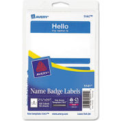 "Avery® ""Hello, my name is"" Name Badge Labels, 2-11/32"" x 3-3/8"", Blue, 100 Labels/Pack"